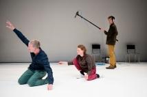 Graeme Miller, Charlie Morrissey, Katye Coe and Alva Noe in Preparation at Sadlers Wells. Photo, Camilla Greenwell